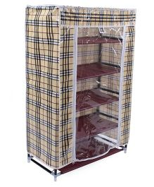 5 Shelves Storage Rack With Cover - Beige