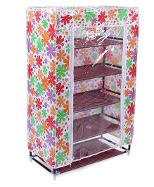 5 Shelves Storage Rack With Cover Floral Print - Multi Color