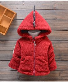 Tickles 4 U Furry Jacket With Spine Applique On Back - Red