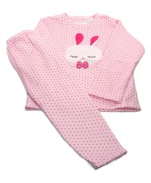 Tickles 4 U Warm Polka Set With Bunny Face Applique - Pink
