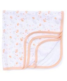 Zero Wrapper Teddy Print - White Peach