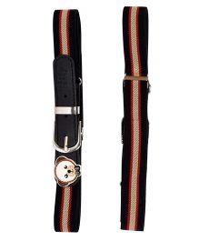 Miss Diva Patched Stripes Belt - Black Cream & Red