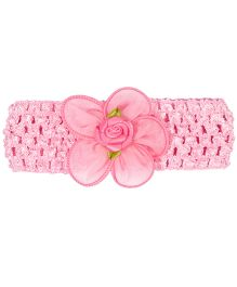 Miss Diva Laced Flower with Rose Soft HeadBand - Pink