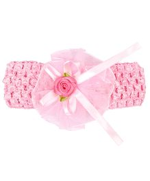 Miss Diva Ribbon Bow with Flower Soft HeadBand - Pink