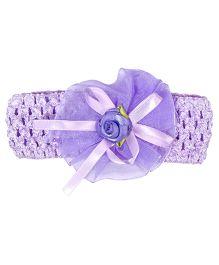Miss Diva Ribbon Bow with Flower Soft HeadBand - Purple