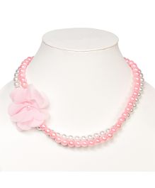 Miss Diva Floral Beaded Necklace - Pink & White