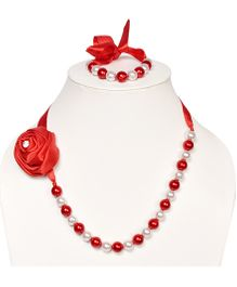 Miss Diva Elegant Diamond Rose Beaded Necklace & Bracelet Set - Red & White