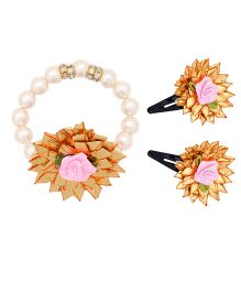 Miss Diva Traditional Gotta Flower Tic Tac Set & Bracelet Combo - Light Pink