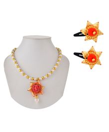 Miss Diva Traditional Gotta Star Beaded Necklace with Pearl & Tic Tac Pair Set - Red
