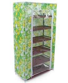 6 Shelves Storage Rack With Cover Heart Print - Green & Yellow
