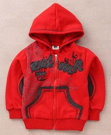 Superfie Stylish Hooded Zipper Jacket - Red