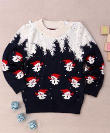 Superfie Christmas Snow Man Sweater - Navy Blue