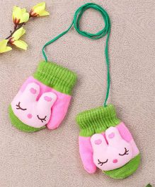 Superfie Cute Bunny Gloves For Kids - Green