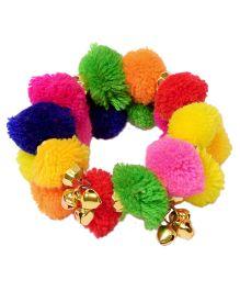 Miss Diva Pom Pom Bracelet With Ghungroo - Multicolor