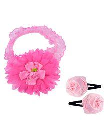 Miss Diva Soft Headband & Pair Of Rose Tic Tacs - Pink
