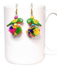 Miss Diva Cute Playing Parrot Earrings - Multicolor