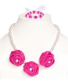 Miss Diva Diamong Studded Elegant Roses Necklace & Bracelet Set - Pink