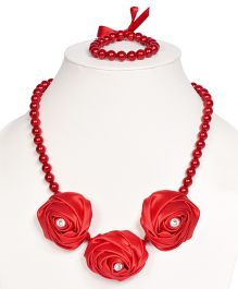 Miss Diva Diamong Studded Elegant Roses Necklace & Bracelet Set - Red
