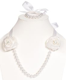 Miss Diva Diamong Studded Elegant Roses Necklace & Bracelet Set - White