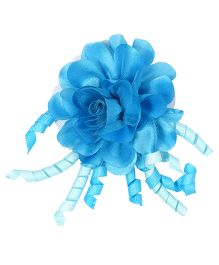 Miss Diva Flower & Curled Satin Ribbon Rubber Band - Turquoise