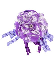 Miss Diva Flower & Curled Satin Ribbon Rubber Band - Purple