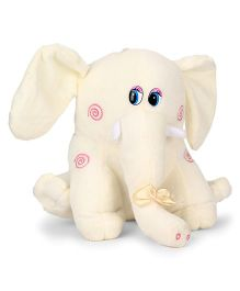Tickles Elephant Soft Toy With Bow Applique Off White - Height 23 cm