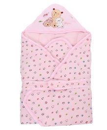 Baby Sleeping Bag Bear Patch - Light Pink
