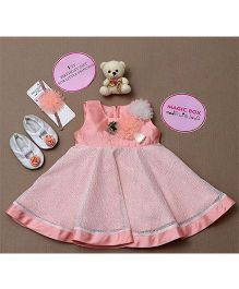 Rose Couture Magic Box Flower Applique Party Wear Dress Set - Peach