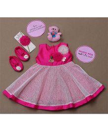 Rose Couture Magic Box Flower Applique Party Wear Dress Set - Pink