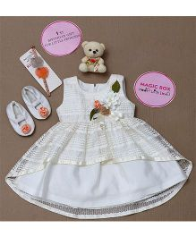 Rose Couture Magic Box Flower Applique High Low Dress Set - Off White