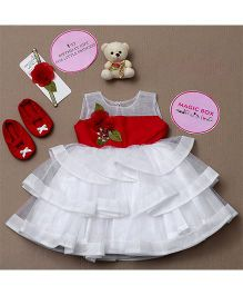 Rose Couture Magic Box Flower Applique Frilled Dress Set - White & Red