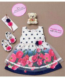 Rose Couture Magic Box Polka Dots & Floral Dress Set - Multicolour