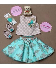 Rose Couture Magic Box Top With Floral Skirt Set - Sea Green
