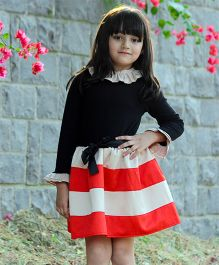 Dress My Angel Stripes Diva Dress - Red & Black