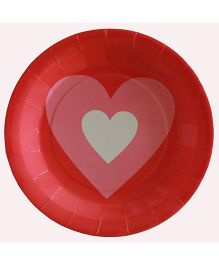 Shopaparty Heart Print Plates - Red