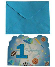 Shopaparty 1st Birthday Invitations - Blue