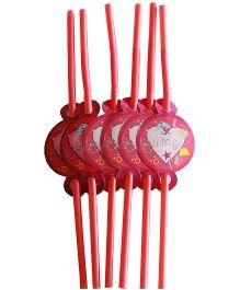 Shopaparty Princess Heart Straws - Hot Pink