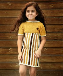 Dress My Angel Organic Hand Knitted Stripes Tunic - Yellow
