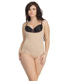 Clovia Body Suit With Back Ruching - Beige