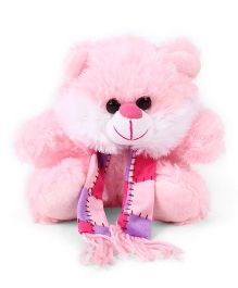Funzoo Teddy Bear With Muffler Soft Toy Pink - Height 20 cm