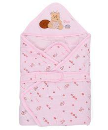 Baby Sleeping Bag Bear Patch - Pink