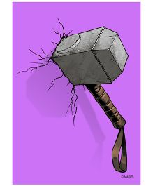 Orka Wall Poster Marvel Thor Hammer Digital Print With Lamination - Purple