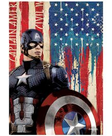 Orka Wall Poster Marvel Captain America Shield Digital Print With Lamination - Blue And Red