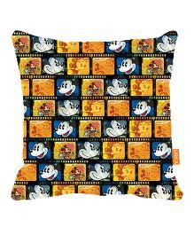 Orka  Mickey Reel Film Digital Printed Polyfill Cushion - Yellow And Blue
