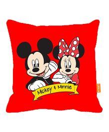 Orka Mickey & Minnie Digital Printed Polyfill Cushion - Red