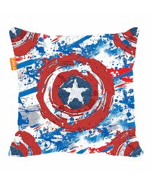 Orka Captain America Shield Digital Printed Micro Beads Cushion - Red And Blue
