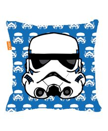 Orka Storm Trooper Face Digital Printed Micro Beads Cushion - Blue And White