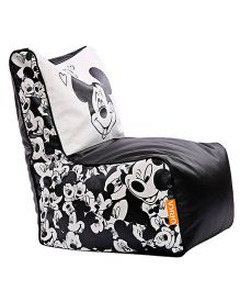 Orka Mickey Mouse Digital Printed Bean Chair XL Filled With Beans - White And Black