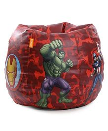 Orka Marvel Avengers Digital Printed Bean Bag XL Filled With Beans - Red