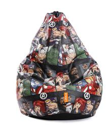 Orka Avengers Characters Digital Printed Bean Bag XL Cover - Black
